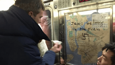 New Yorkers Scrub Swastikas Off Subway Car