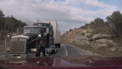 Close Call With Truck On Ontario Highway