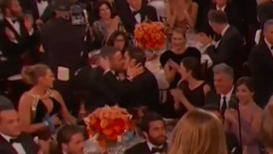 Ryan Reynolds Kisses Golden Globes Tablemate