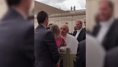 Girl Steals Pope Francis's Cap