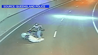 Motorcyclist Crashes Into Mattress