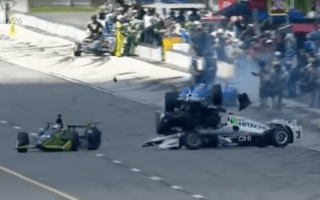 IndyCar driver has lucky escape after race car launched into his head