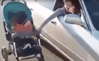 Mother filmed pushing infant son's buggy from car