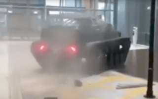 The Grand Tour drive tank through shopping centre wall in Dubai