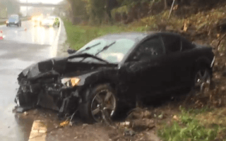 Mazda RX-8 destroyed in aquaplaning accident