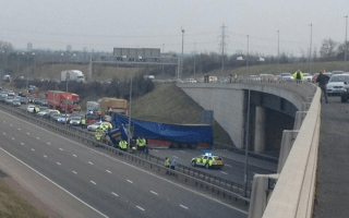 Lorry drops onto M6 Toll from M42 flyover