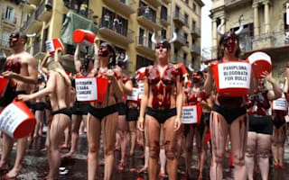 Running of the Bull protesters covered in fake blood
