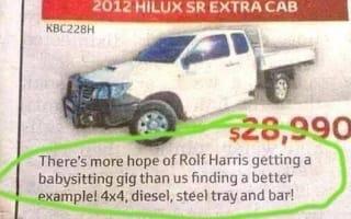 Toyota dealer's Rolf Harris advert sparks backlash