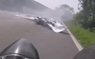 Biker has incredible near-miss after Isle of Man TT crash
