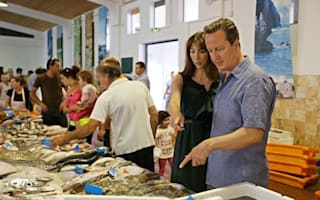 David and Samantha Cameron go 'squid shopping' on holiday in Portugal
