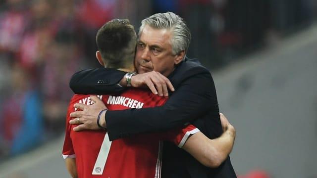 Jealous Arjen Robben yearns for a kiss from Carlo Ancelotti