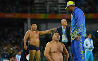 Rio 2016: Mongolian wrestling coaches strip off in protest at bronze medal bout