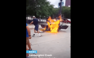 Driver pulled from Lamborghini wreckage seconds before explosion