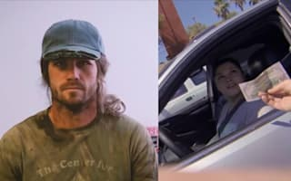 Watch people's reactions when 'homeless' man gives out money