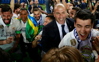 WATCH: Zidane splashed with champagne as Real Madrid stars invade news conference