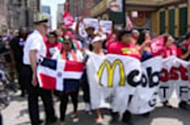 Protesters rally outside McDonald's headquarters