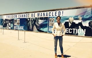 Katie Holmes tweets pics of Robben Island visit on Cape Town trip