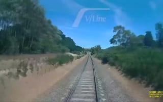 Man in terrifying near-miss with speeding train