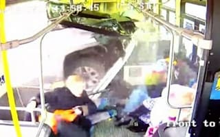 Dramatic moment truck crashes through a bus in New York