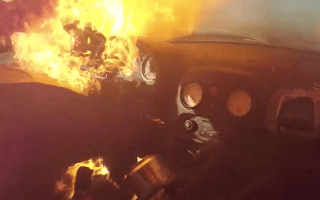 Driver escapes flaming car just in time