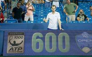 Murray reaches 600 ATP Tour wins in Cincinnati