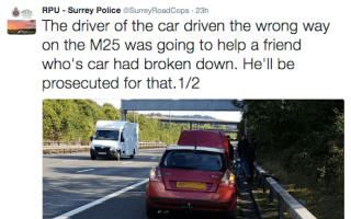 Surrey Police tweet about M25 wrong-way driver, prosecute two