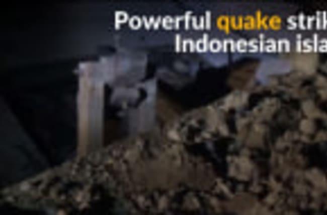 Strong earthquake hits Indonesian island