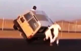 Saudi daredevils caught leaping into balancing car