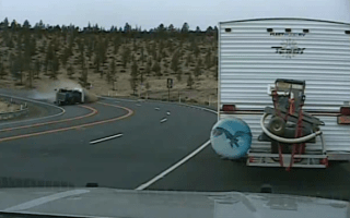 Police dashcam captures scary truck rollover crash