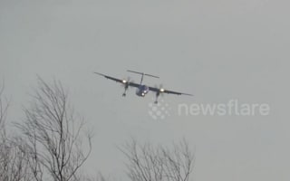 Storm Conor: Flybe plane struggles to land at Leeds Bradford Airport