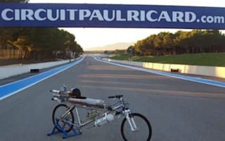 Video: Rocket-propelled bicycle beats Ferrari in drag race