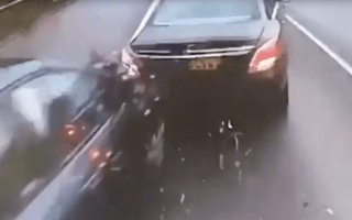 Frightening moment a lorry ploughs into stationary traffic caught on film