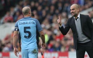 Guardiola lauds Zabaleta as Manchester City great