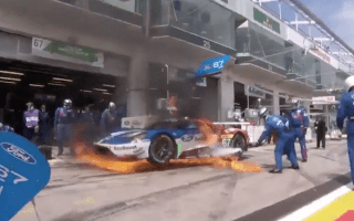 Watch a Ford GT Race car erupt in flames during pit stop