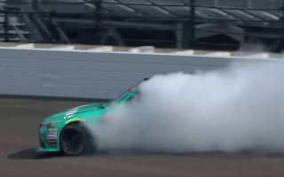 Nascar driver improvises massive drift from 200mph tyre blowout