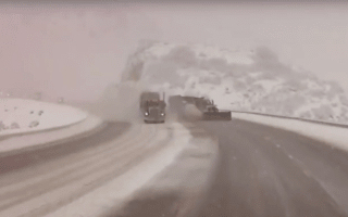 Dashcam Video Shows Snowplough Getting Run Off Road By Truck