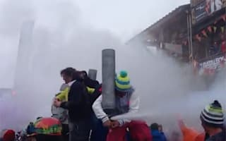 Video: Skier's party trick fail goes viral