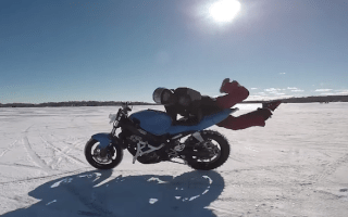 Hilarious bike stunt fail just keeps on going