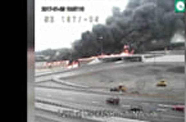 Tanker Truck Catches Fire on Ohio Highway