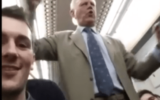 Drunken pensioner conducts hilarious singalong on late-night train to Kent (video)
