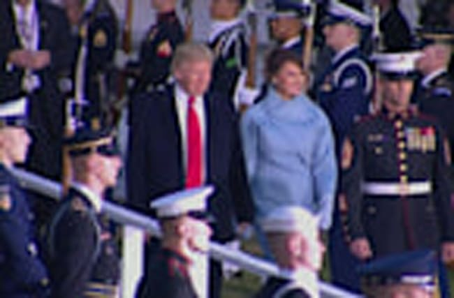 Trump welcomed to The White House with a military parade