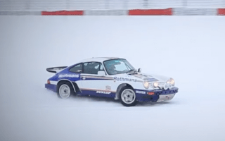 Classic Porsche rally car tackles snowy Nurburgring