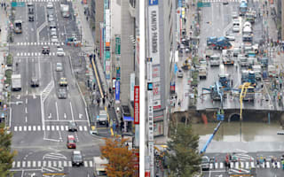 Japanese workers fix giant sinkhole in two days