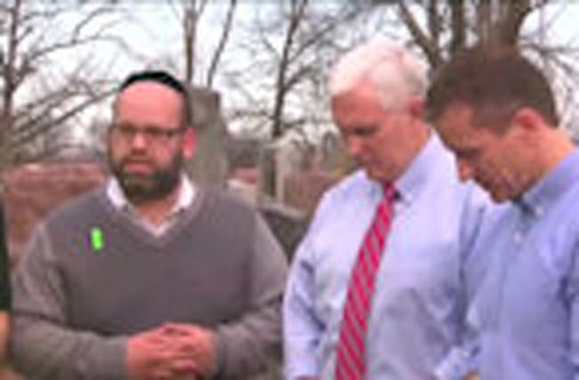 Pence visits damaged Jewish cemetery