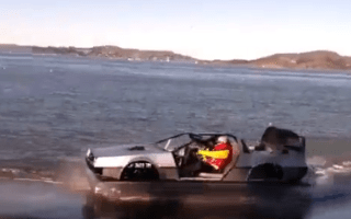 Mad inventor creates DeLorean Hovercraft