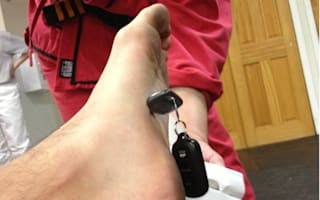 Karate pupil impales foot on car keys
