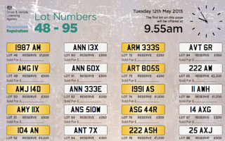 """TR15TAN"" under hammer at DVLA private number plate auction"