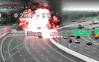 Huge explosion after wrong-way driver collides with fuel tanker