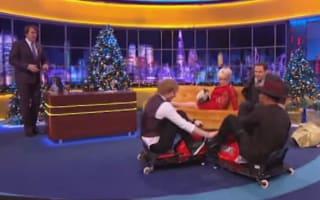 Lewis Hamilton and Ed Sheeran cause chaos in Crazy Carts