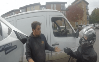 White van driver confronts bikers after near-collision